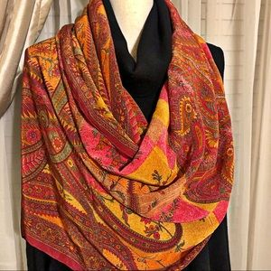 New without tags Indian Print Paisley Silk Scarf